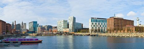 Liverpool, England. Panoramic view of Liverpool skyline, England Royalty Free Stock Images
