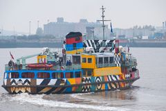 Dazzling ferry on the river Mersey stock images