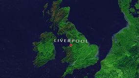 Liverpool - England zoom in from space. Zoom to geographic earth from space 4K Resolution animation stock footage
