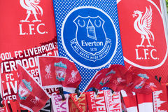Liverpool and Everton football team flags Stock Image