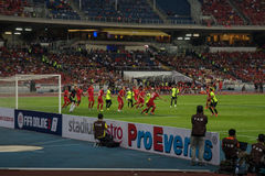 Liverpool FC and Malaysia IX in action during LFC tour 2015. Royalty Free Stock Photo