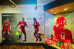 The Liverpool FC Story, the museum of Liverpool FC in the UK. LIVERPOOL, UNITED KINGDOM - MAY 17 2018: The Liverpool FC Story is the museum that dedicated to stock photos