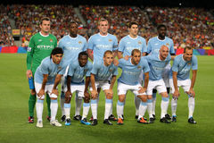 Manchester City FC Team. Manchester City Team before the Trophy Joan Gampers match between FC Barcelona and Manchester City at Nou Camp Stadium in Barcelona Royalty Free Stock Image