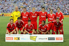 Liverpool FC Team. Before a friendly match against RCD Espanyol at the Estadi Cornella-El Prat on August 2, 2009 in Barcelona, Spain Royalty Free Stock Photography
