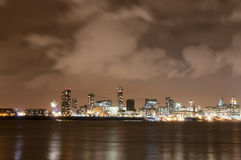 Liverpool Firework Panorama on New Year's Eve Stock Images