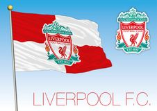 Liverpool football club flag and crest, England 2018