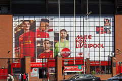 Liverpool Football Club's new giant mural for the 2016/17 season at the Kop end of the stadium Royalty Free Stock Images