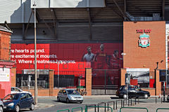 Liverpool Football Club's new giant mural for the 2016/17 season at the Kop end of the stadium Royalty Free Stock Photos