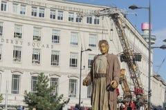 Liverpool Giants - città di cultura 2018 immagini stock libere da diritti