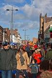 LIVERPOOL, HET UK, 2 FEBRUARI 2014. Straatparade aan teken Chinees N Royalty-vrije Stock Foto's
