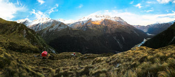 Liverpool Hut and Matukituki Valley Stock Photography