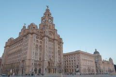 Liverpool Ikonowi budynki Trzy graci Fotografia Stock