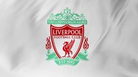 Liverpool, Inglaterra - 23 de febrero de 2018: Bandera 2 del fútbol de FC que agita Liverpool en 1 stock de ilustración