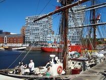 Liverpool ist eine BRITISCHE Stadt und ein Stadt- Bezirk in der Nordwest-England-Region, aufgestellt im Osten der Mersey-Bucht stockfotos