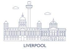 Liverpool, le costruzioni più famose della città Fotografie Stock Libere da Diritti