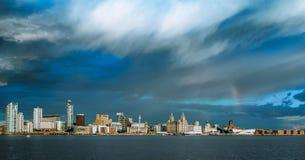 LIVERPOOL linia horyzontu, MERSEYSIDE, ANGLIA Zdjęcie Royalty Free