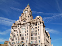 Liverpool Liver Building. The Royal Liver Building on the Pierhead at Liverpool showing one of the world famous Liverbirds with a royalty free stock images