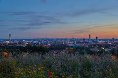 Liverpool. Panorama with stunning sunset Royalty Free Stock Photo