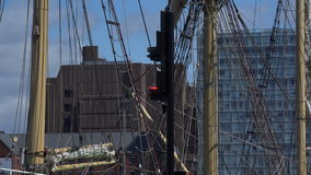 Liverpool looking through rigging of old ship 4K. Liverpool city dock area looking through rigging of ship 4K stock video
