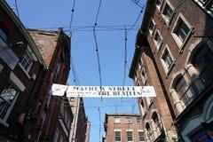 Liverpool, maj 25, 2017: Sztandar przy Mathew ulicą w Liverpool Obraz Stock