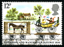 Liverpool and Manchester Railway UK Postage Stamp Stock Images