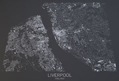 Liverpool map, satellite view, England Stock Photography