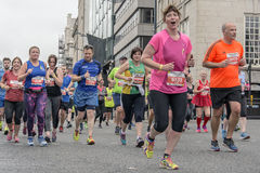 Liverpool Marathon 2017. Runners make their way around Liverpool city center Stock Photography