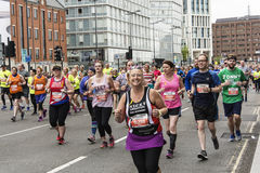 Liverpool Marathon 2017. Runners make their way around Liverpool city center Royalty Free Stock Image