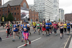Liverpool Marathon 2017. Runners make their way around Liverpool city center Royalty Free Stock Photos
