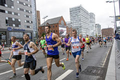 Liverpool Marathon 2017. Runners make their way around Liverpool city center Stock Image