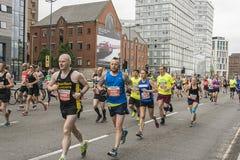 Liverpool Marathon 2017. Runners make their way around Liverpool city center Stock Photo