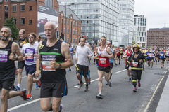 Liverpool Marathon 2017. Runners make their way around Liverpool city center Stock Images