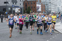 Liverpool Marathon 2017. Runners make their way around Liverpool city center Royalty Free Stock Images
