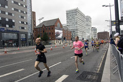 Liverpool Marathon 2017. Runners make their way around Liverpool city center Royalty Free Stock Photo
