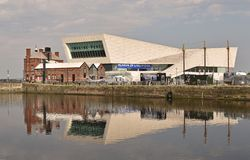 Skyline and the Museum of Liverpool stock images