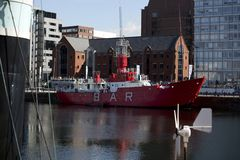 Liverpool, Merseyside, UK, 11th June 2014, a daytime view of the BAR Lightship in Canning Dock in the cultural quarter of stock photo
