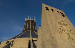 Liverpool Metropolitan Cathedral. Against a bright blue sky Stock Photography