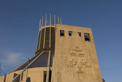 Liverpool Metropolitan Cathedral. Against a bright blue sky Stock Images