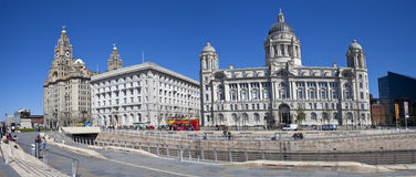 Liverpool Panoramic. A panoramic view of the Three Graces in Liverpool: The Royal Liver Building, Cunard Building and the Port of Liverpool Building Stock Photos