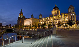 Liverpool Pier Head - Three Graces, buildings on Liverpool's waterfront, UK Royalty Free Stock Photography