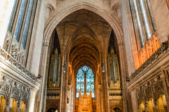 Liverpool, R-U - 3 avril 2015 - vue intérieure de cathédrale de Liverpool photos stock