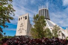 LIVERPOOL, R-U, LE 26 MAI 2019 : Une vue documentant l'ext?rieur de la cath?drale m?tropolitaine du Christ le roi, ? Liverpool image stock