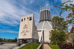LIVERPOOL, R-U, LE 26 MAI 2019 : Une vue documentant l'ext?rieur de la cath?drale m?tropolitaine du Christ le roi, ? Liverpool photographie stock