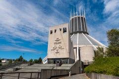 LIVERPOOL, R-U, LE 26 MAI 2019 : Une vue documentant l'ext?rieur de la cath?drale m?tropolitaine du Christ le roi, ? Liverpool photo stock