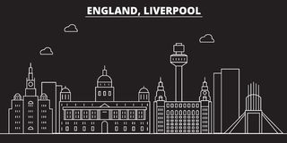 Liverpool silhouette skyline. Great Britain - Liverpool vector city, british linear architecture. Liverpool line travel vector illustration