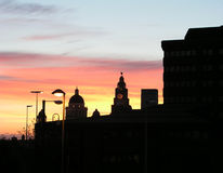 Liverpool Skyline. Sunset in Liverpool UK royalty free stock photography