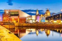 Liverpool Skyline Pier head sunset stock photo