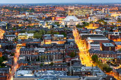 Liverpool skyline and Metropolitan cathedral. Aerial view of Liverpool city and the Metropolitan Cathedral Royalty Free Stock Photos