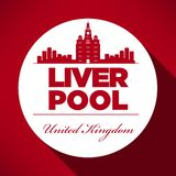 Liverpool Skyline with Typography Design royalty free illustration