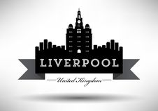 Liverpool Skyline with Typography Design vector illustration